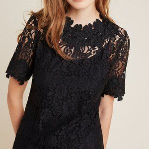 Black Anthropologie Blue Tassel Lace Top (NWT)